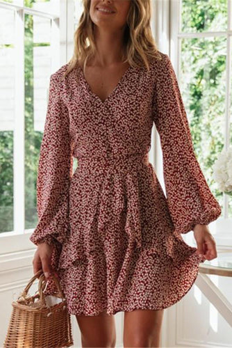 Women's Sexy V-Neck Puff Sleeve Printed Slim Dresses