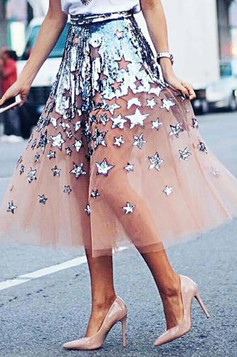 Fashion See-through Organza Print Skirt