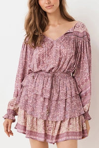 Round Neck Chiffon Bishop Sleeve Printed Colour Ruffled Belted Suit
