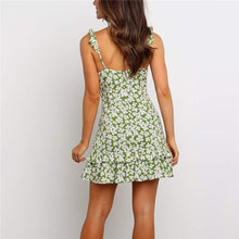 Load image into Gallery viewer, Bohemia Floral Printed Sling Flounce Dress