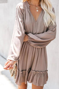 Casual Round Neck Long Sleeve Stitching Solid Color Dress