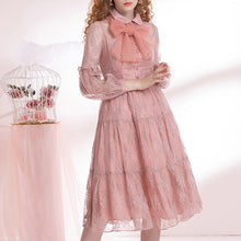 Load image into Gallery viewer, Ladies dress with lace long sleeves and bow ties