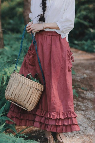Classical Countryside Style Pure Color Ruffled Skirts