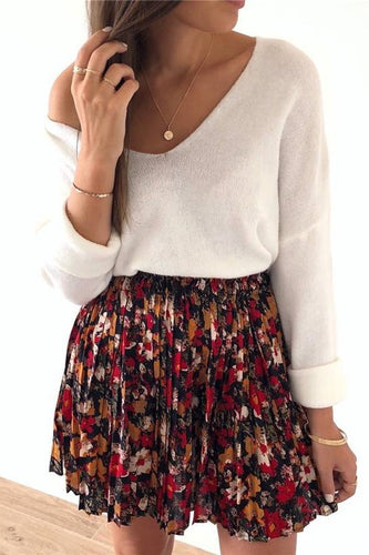 Women's Casual Printed Pleated Skirt