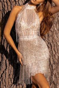 Sexy Halter Glitter Tassel bodycon Dress