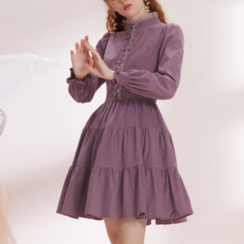 Ladies elegant vintage long-sleeved dress