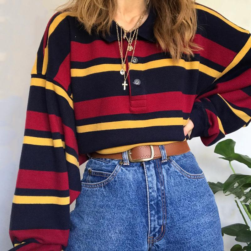 Casual Stripe Loose Fitting Long-Sleeved Shirt