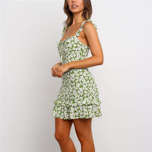 Bohemia Floral Printed Sling Flounce Dress