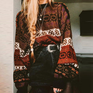 Casual printed loose bat sleeve sweater