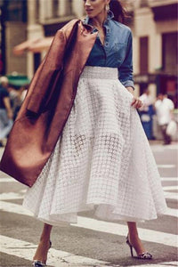 Autumn and winter fashion lace high waist swagger skirt