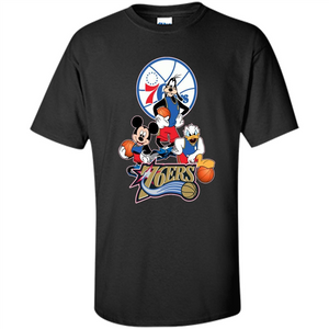 Mickey Goofy Donald Loves 76ers Basketball Fans Merch Tee - T-Shirt