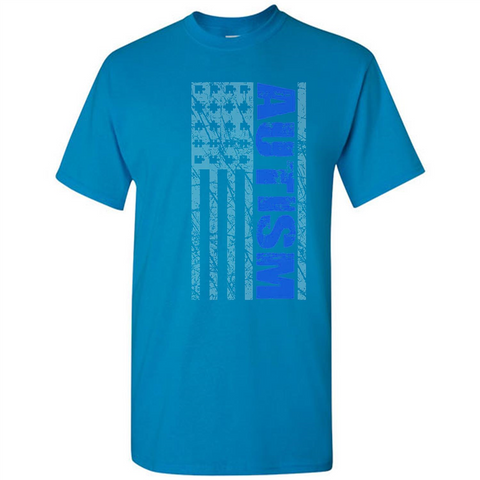 Autism Awareness American Flag Graphic  T Shirt