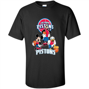 Mickey Goofy Donald Loves Pistons Basketball Fans Merch Tee - T-Shirt