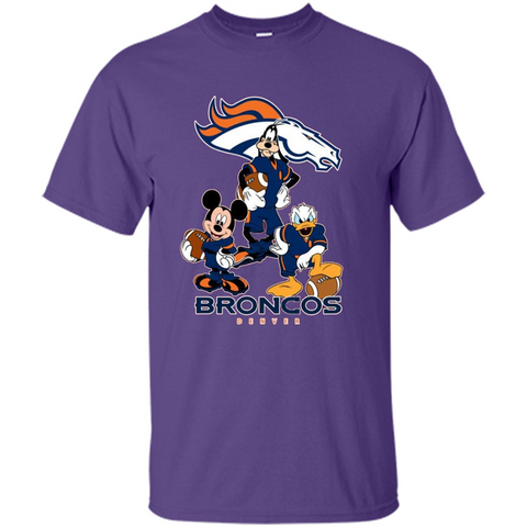 Mickey Goofy Donald Loves Broncos Football Fans Merch Tee - T-Shirt