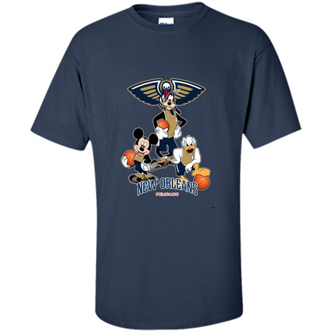 Mickey Goofy Donald Loves Pelicans Basketball Fans Merch Tee - T-Shirt