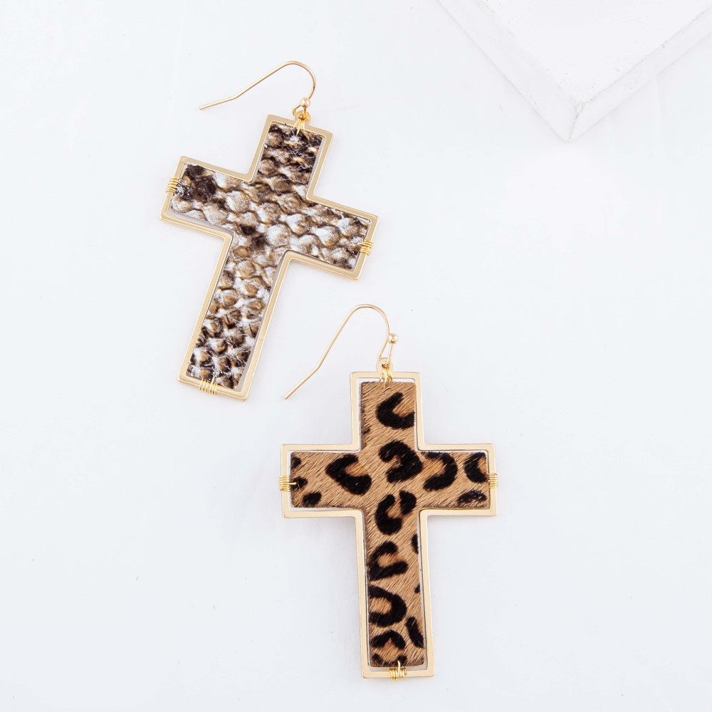Faux Leather Snakeskin Cross Drop Earrings