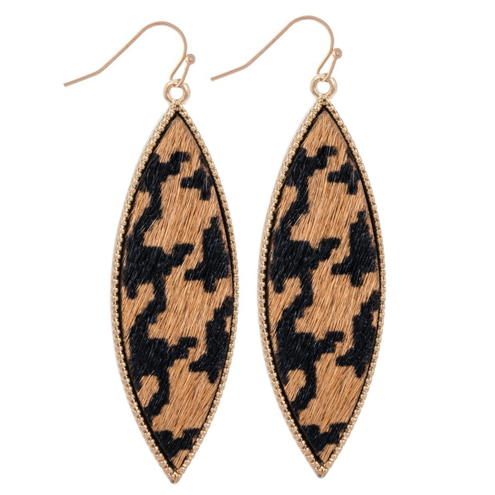 Genuine Leather Leopard Print Drop Earrings Gold Long