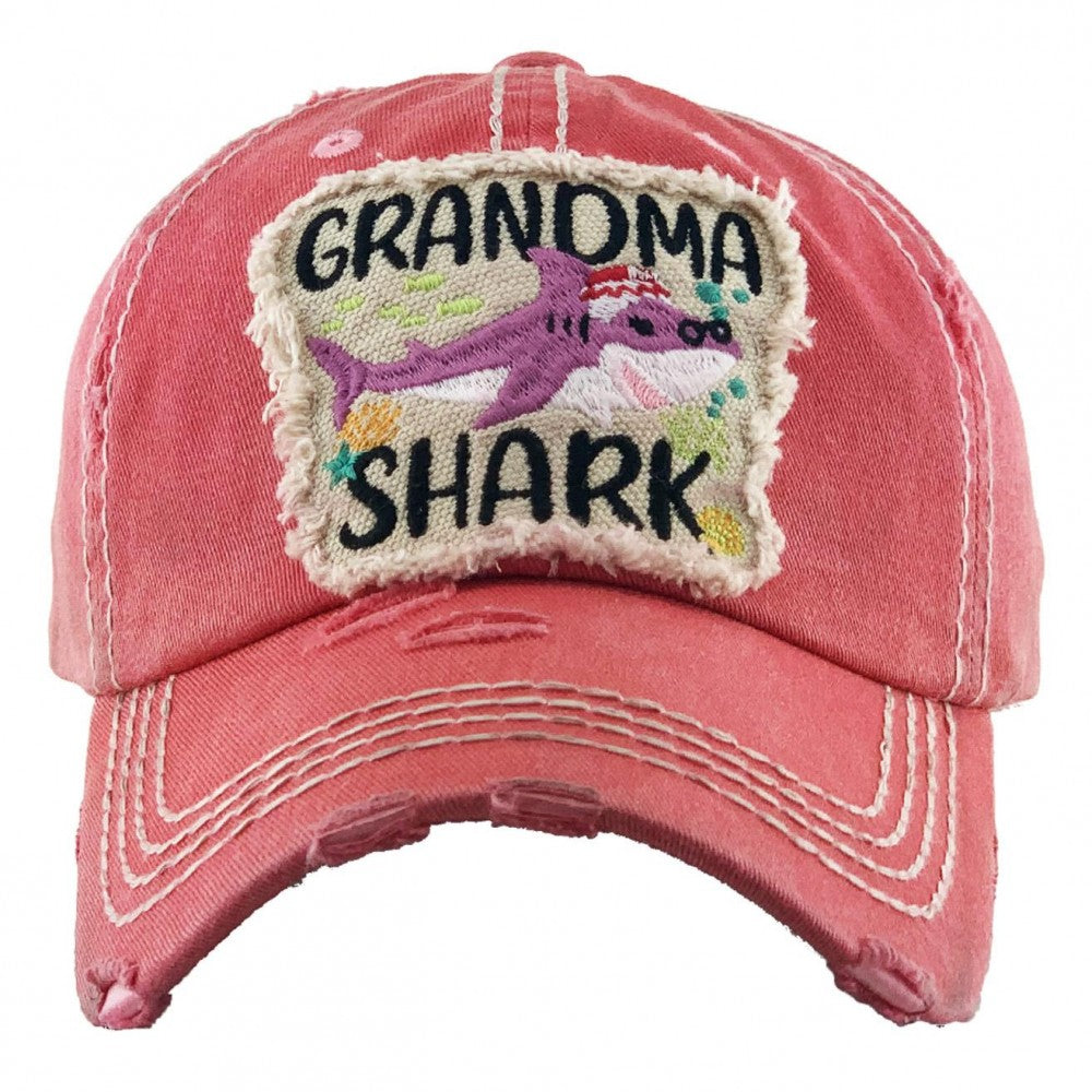 Vintage Distressed Grandma Shark Baseball Cap One fits most Adjustable