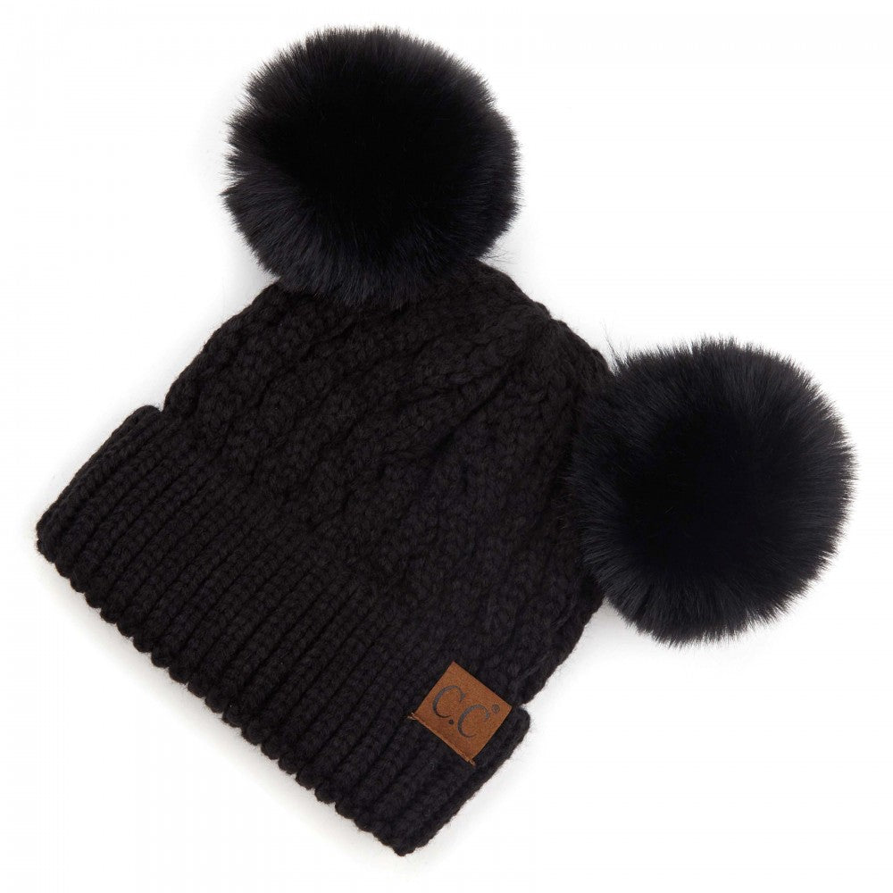 BLACK CC HAT Cable Knit Pattern Solid Color Double Pom Beanie