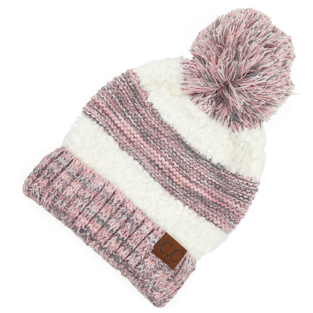 ROSE CC Hat Popcorn Yarn Sherpa Knit Pom Beanie One fits most
