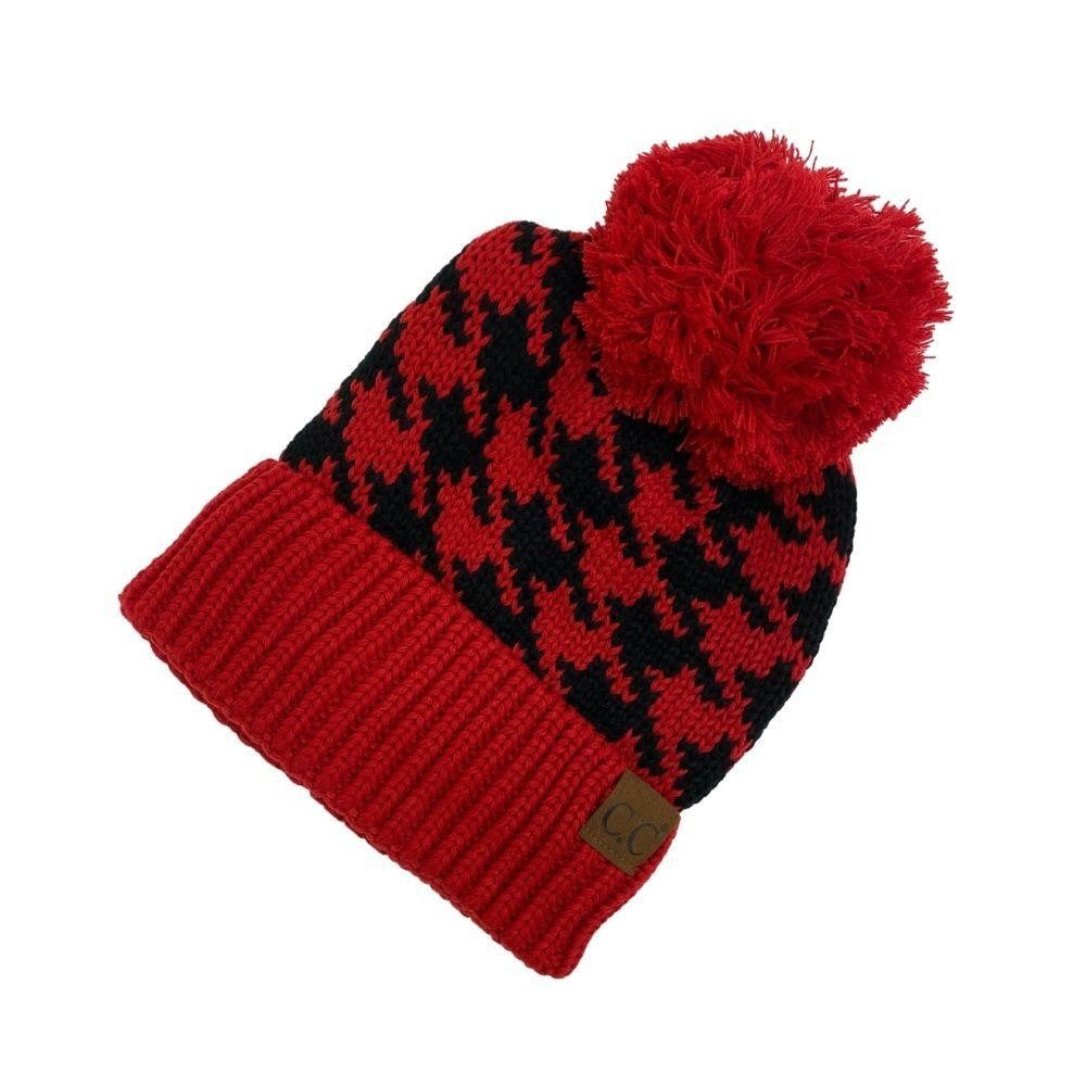 CC YJ Houndstooth Knit Pattern Pom Beanie One fits most