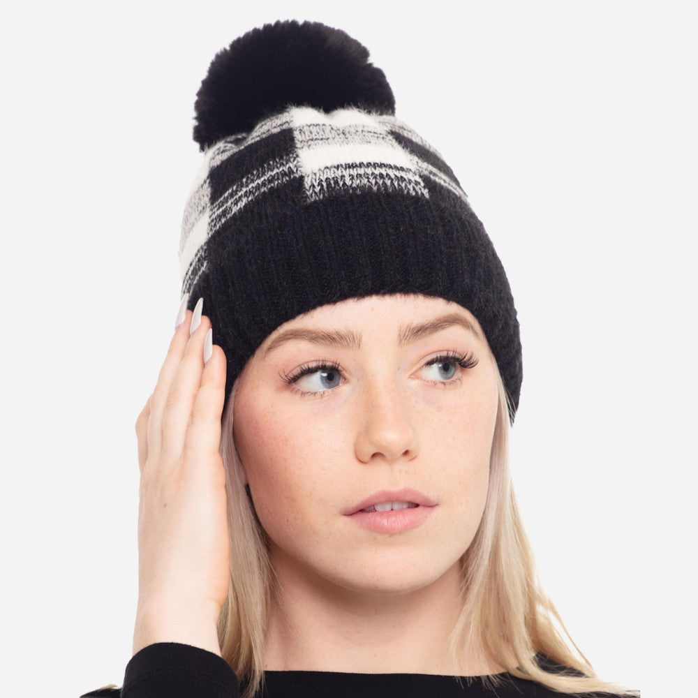 Faux Fur Lined Buffalo Check Knit Pom Beanie One fits most