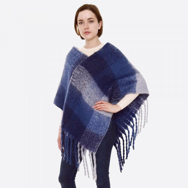 Soft Fuzzy Knit Color Block Poncho Oversized Fringe Tassels