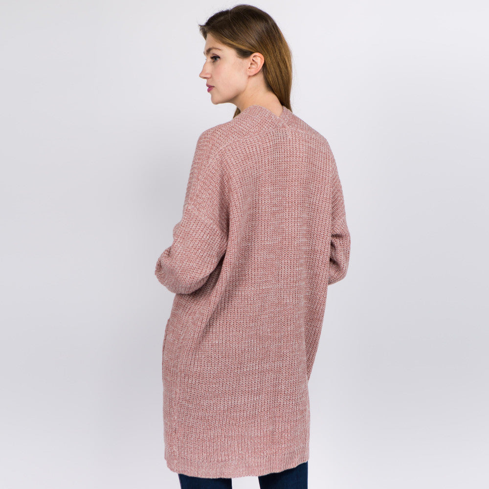 Solid Heather Knit Cardigan Pockets One fits most