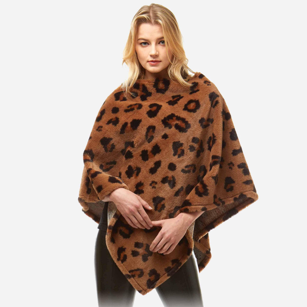 Women's Faux Fur Leopard Print Poncho One size fits most