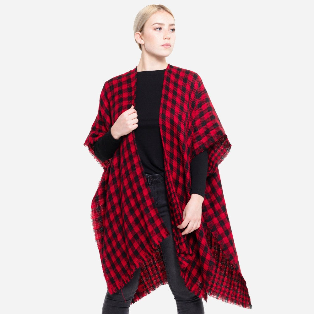 Reversible Buffalo Check Houndstooth Winter Kimono Frayed Trim