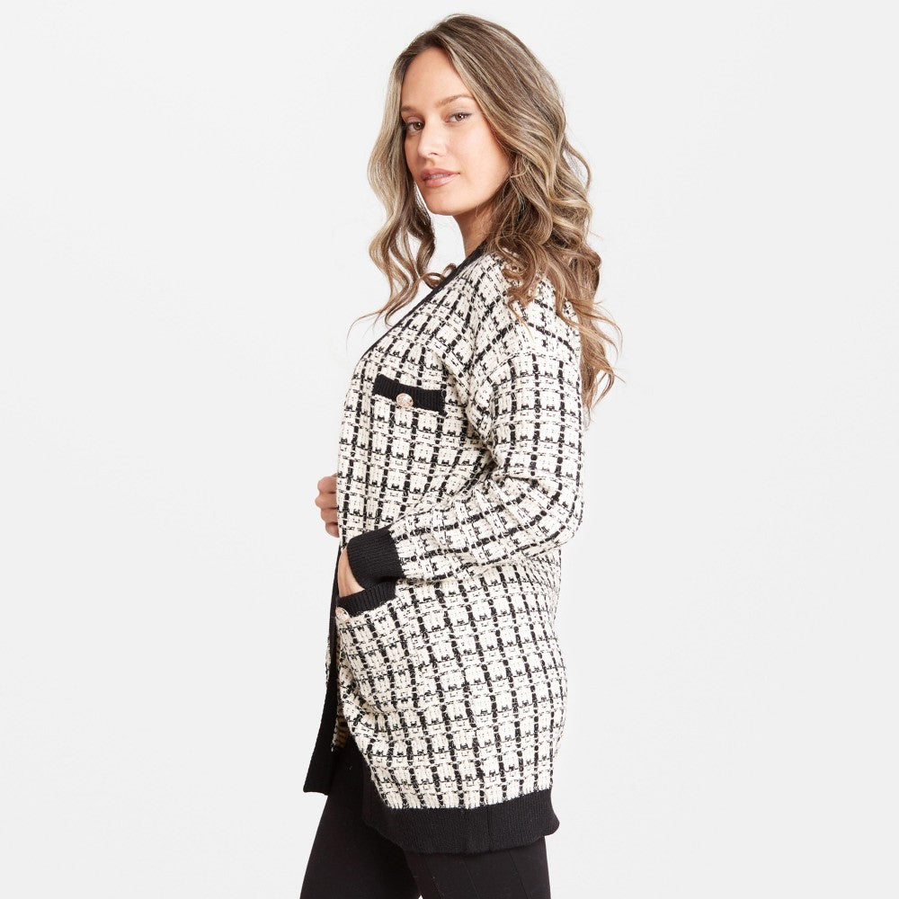 Women's Tweed Knit Cardigan Front Pockets One fits most