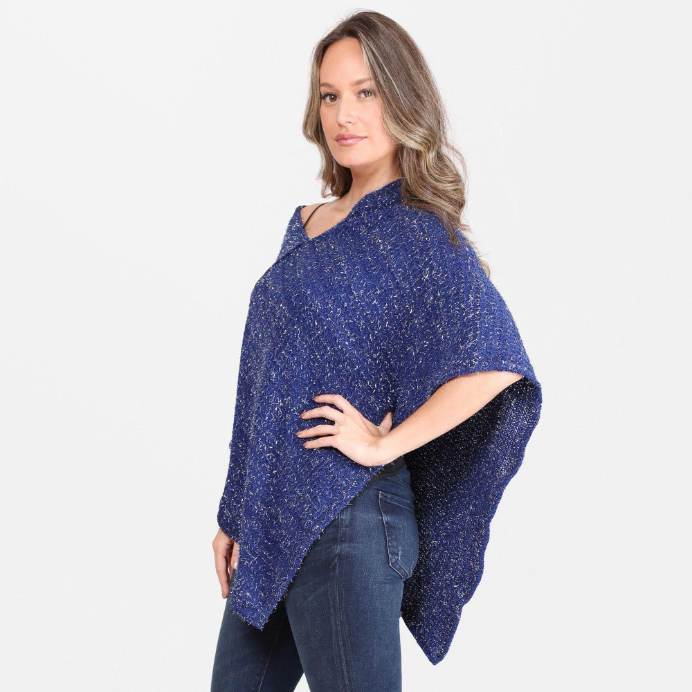 Women's Metallic String Knit Poncho One fits most