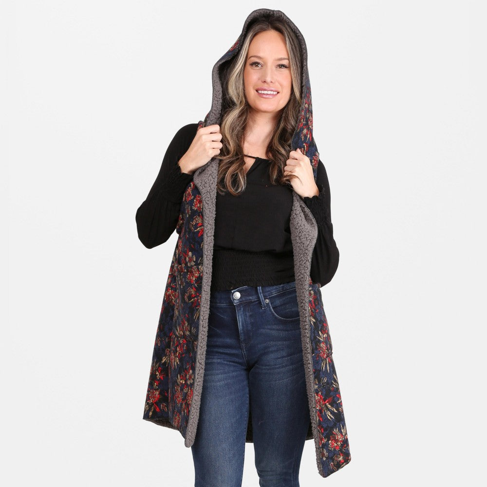 Floral Print Hooded Sherpa Vest Pockets One fits most