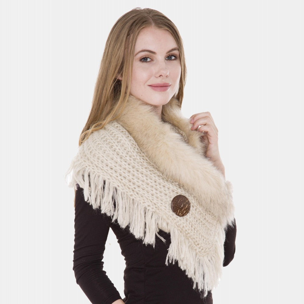 Crochet Knit Faux Fur Cowl Neck Shawl Coconut Button Details Fringe