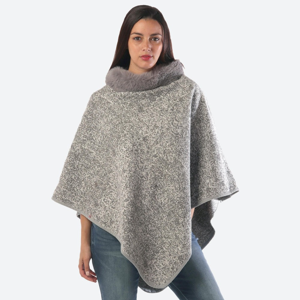 Women's Thick Marled Knit Poncho Faux Fur Neck Trim One fits most