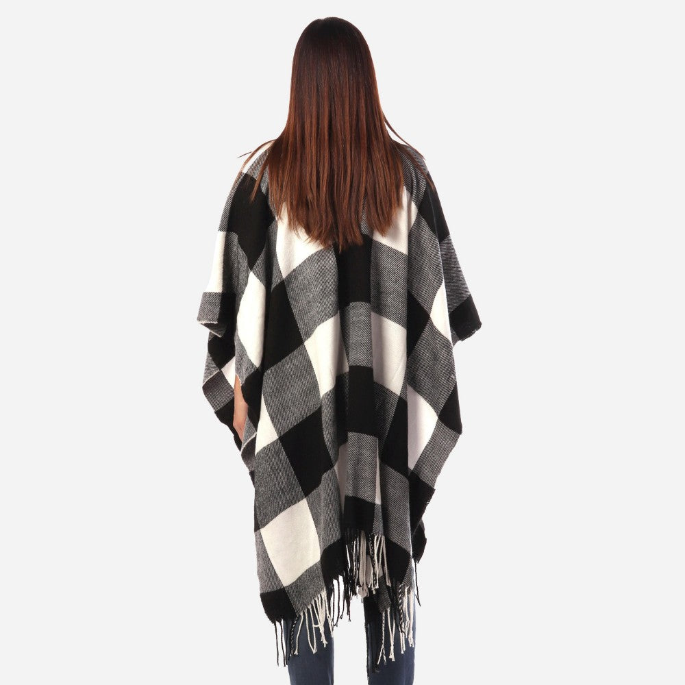 Women's Buffalo Check Knit Ruana Wrap Fringe Tassel Trim