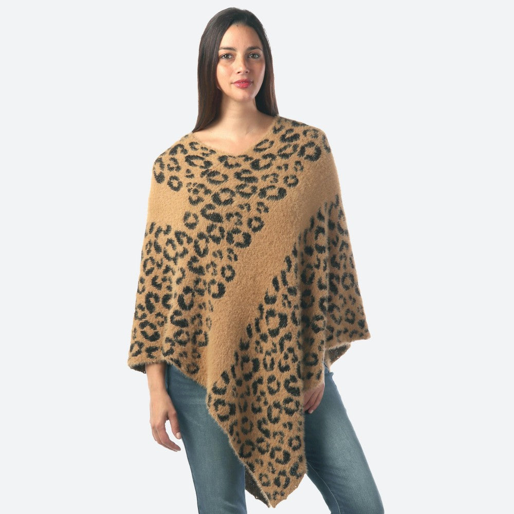 Women's Leopard Print Knit Stripe Poncho One fits most