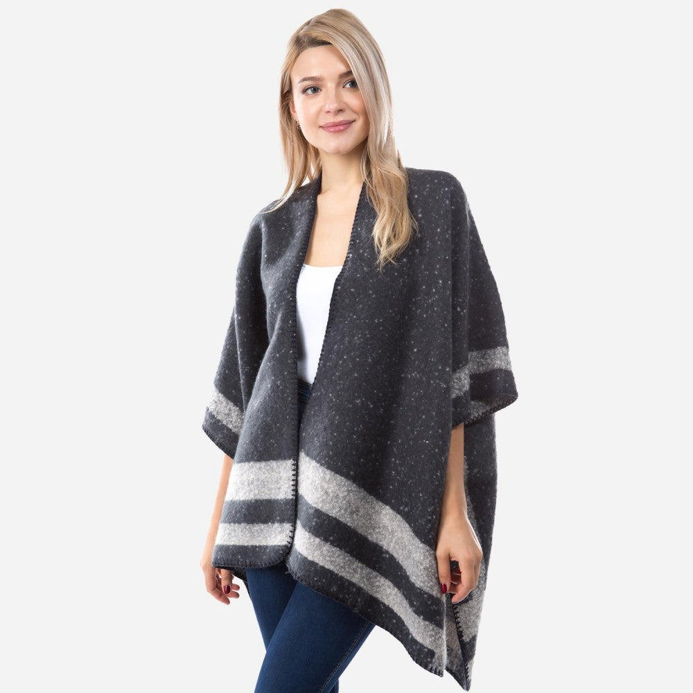 Women's Winter Fuzzy Knit Kimono Bordered Whipstitch Trim