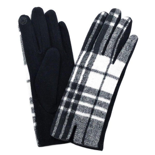 Plaid Print Smart Touch Gloves Touchscreen