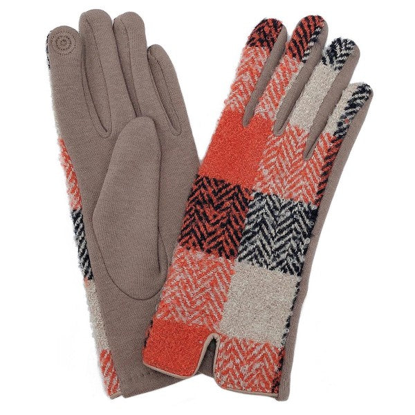 Plaid Print Smart Touch Gloves