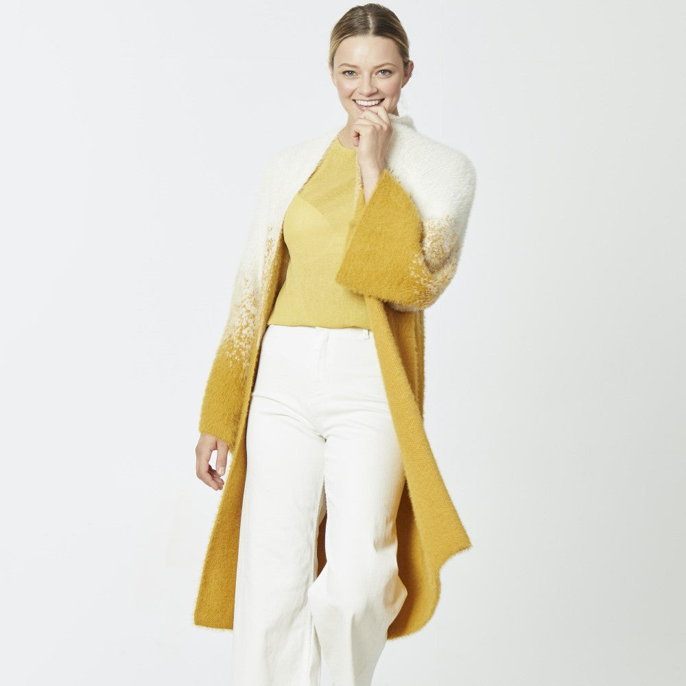 Fuzzy Knit Ombre Mustard Cardigan