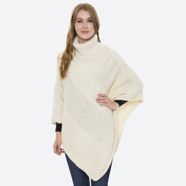 Women's Solid Turtleneck Knit Poncho One fits most