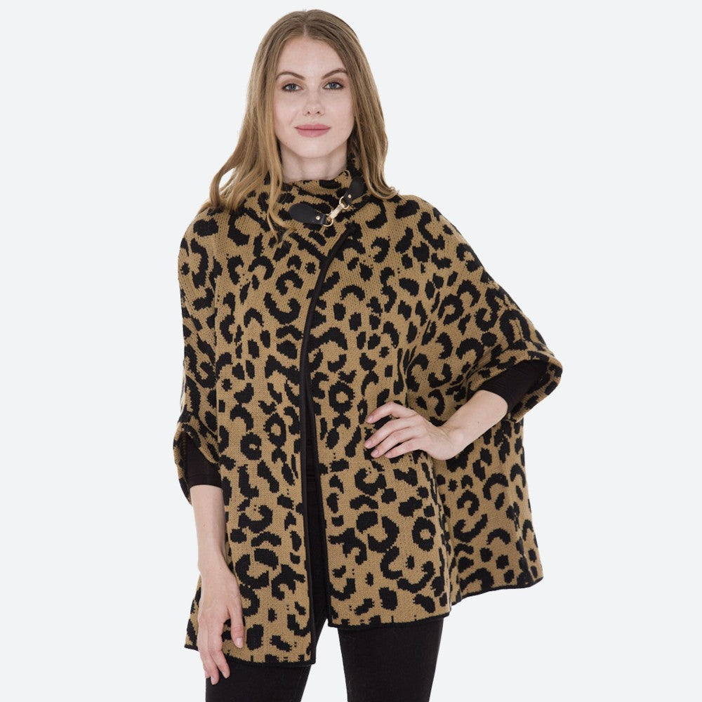 Women's Leopard Print Knit Cowl Neck Poncho Sweater One fits most