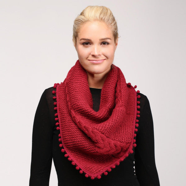 Solid Cable Knit Scarf Pom Pom Trim