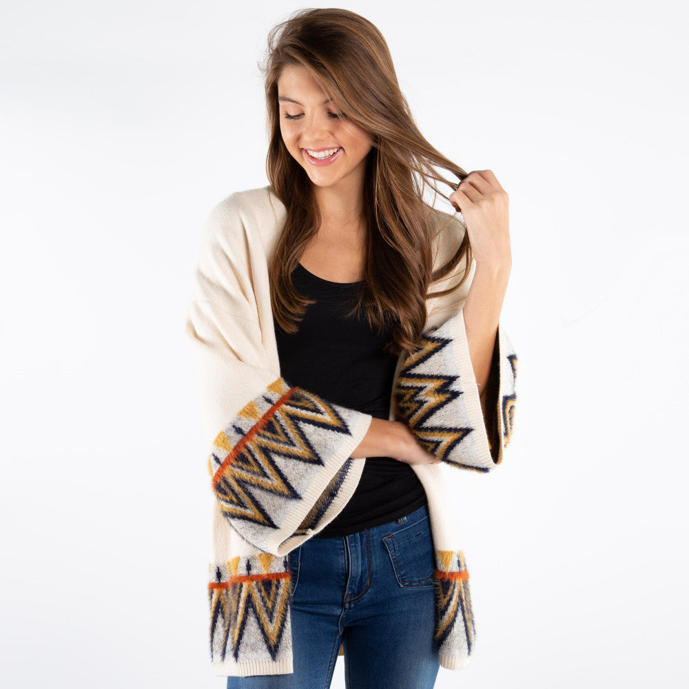 Women's Aztec Print Sleeve Cardigan One fits most