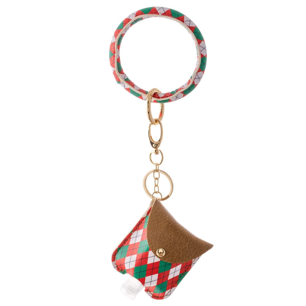 Plaid Print Christmas Key Ring Hand Sanitizer Holder Bangle Wristlet