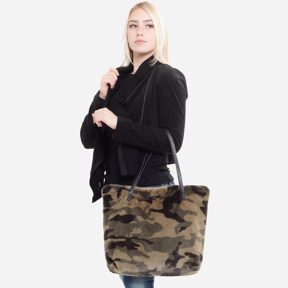 Faux Fur Camouflage Tote Bag Faux Leather Handles Zipper Closure