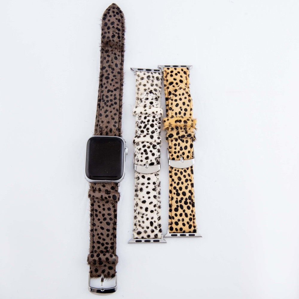 Adjustable Genuine Leather Cheetah Print Cow Hide Smart Watch Band