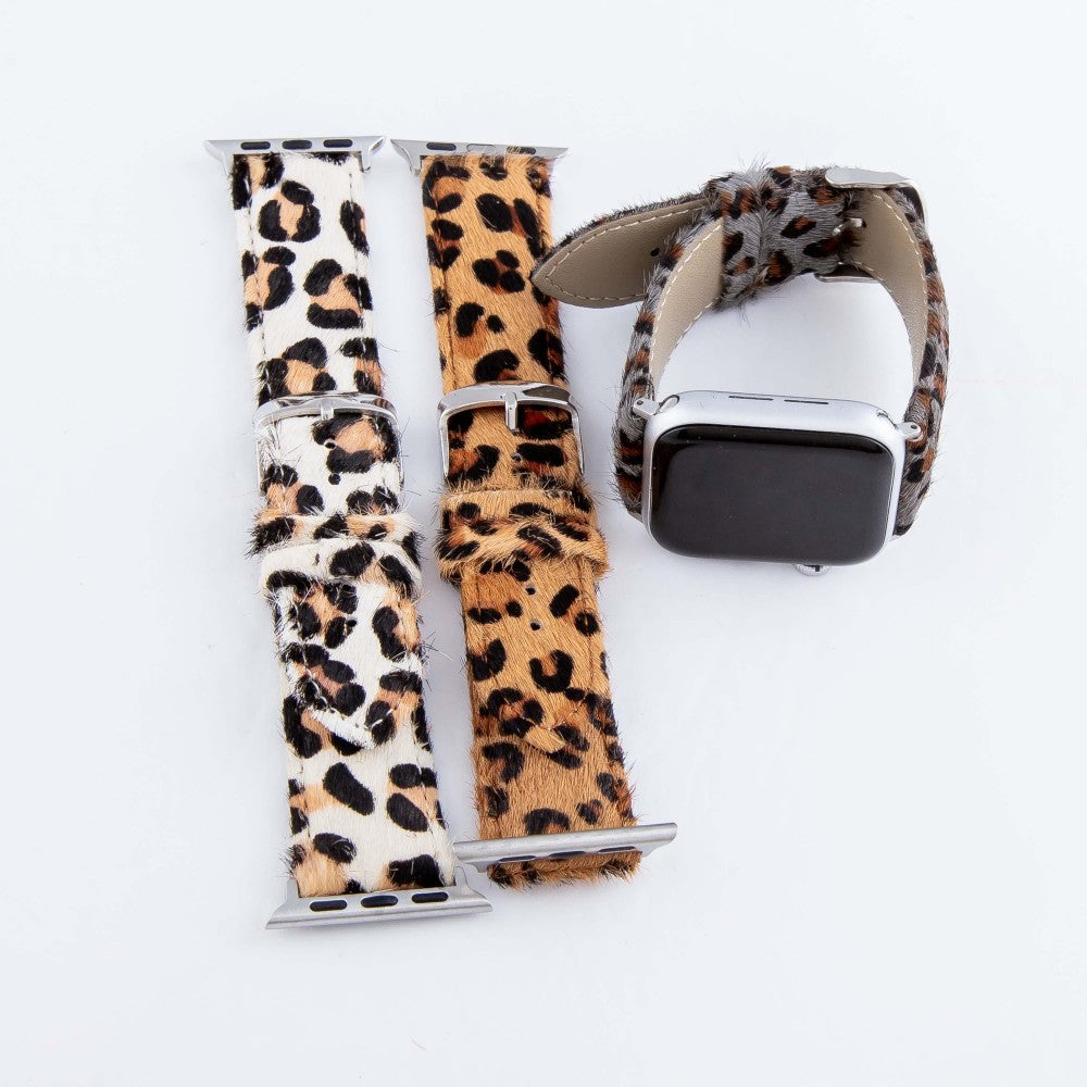 Genuine Leather Leopard Print Cow Hide Smart watch bracelet