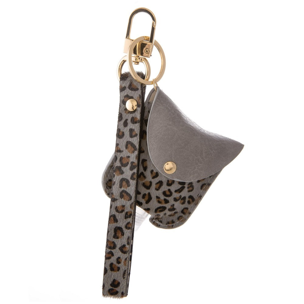 Faux Leather Cheetah Print Hand Sanitizer Holder